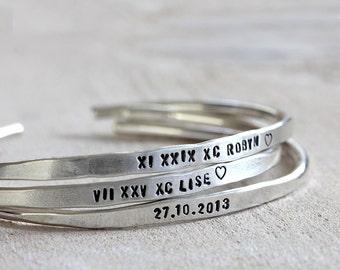Personalized silver bracelet sterling silver cuff or brass cuff custom bracelet bangle