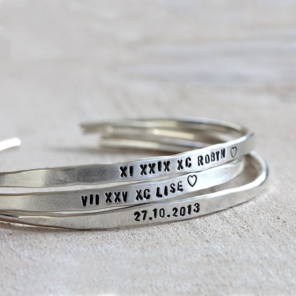 personalized silver bracelet sterling silver cuff or brass. Black Bedroom Furniture Sets. Home Design Ideas