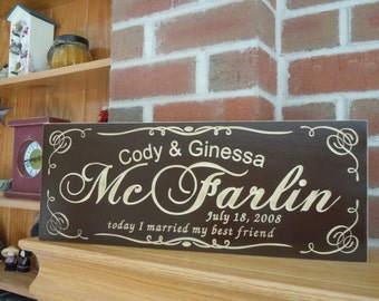Handmade Custom Signs Wedding Gifts Custom Engraved Wooden Signs Last Name Sign Personalized  Wooden Marriage  Engraved Plaque Poplar 7