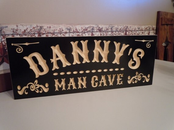 Personalized Man Cave Signs Etsy : Personalized man cave sign wooden carved first name