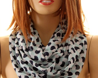 Polka dot infinity scarf, scarves, accessories, women fashion, women gift, girls accessories, women scarves, wraps, polak dots scarves, loop