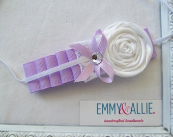 Ribbons & Lace - Purple/Lavender/White Headband  Baby/Girl/Infant/Photo