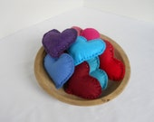 Hearts Bowl Filler Set of 9 Felt Hearts Reds Blues Nursery Valentine Living Room Decor