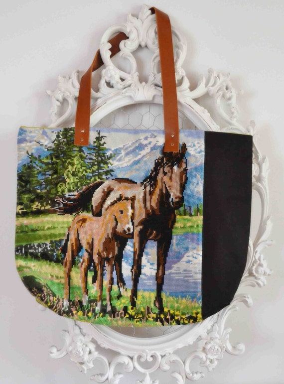 RESERVED FOR BRACHA Needlepoint vintage horses lover tapestry tote bag