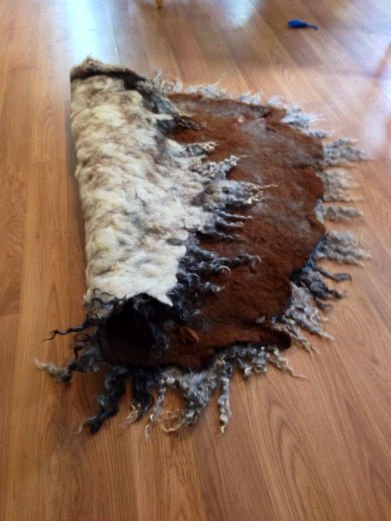 Felted alpaca and cashmere rug