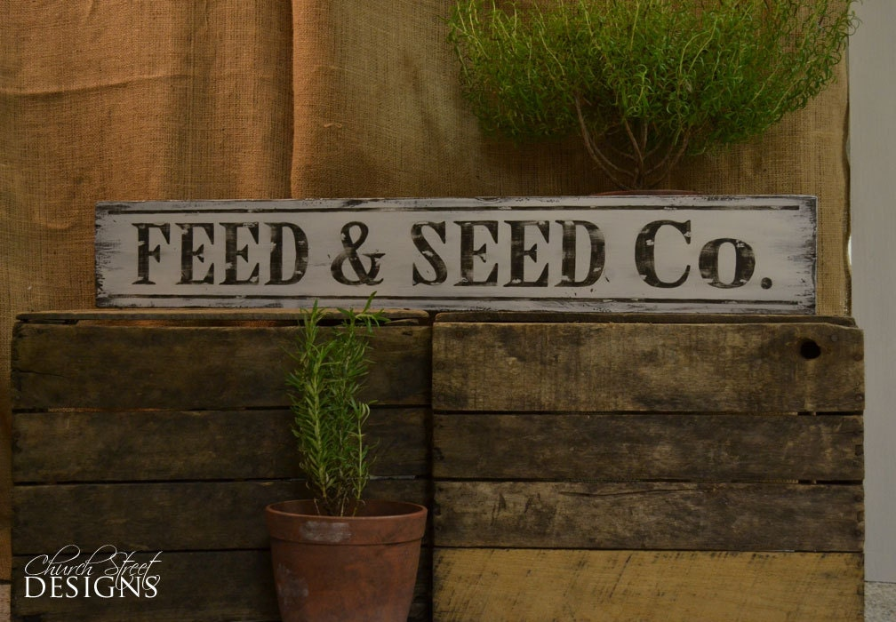 Hand Painted Vintage Feed and Seed Sign Old by ChurchStDesigns