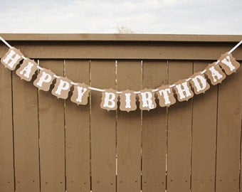 HAPPY BIRTHDAY banner for Birthdays, Party Banners, Signs   Kraft & White