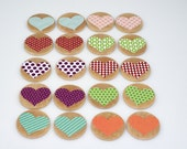 SALE item 1.5 inch round wooden heart concentration matching game
