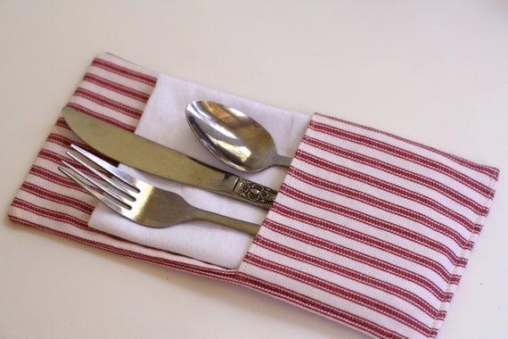 Red ticking stripe silverware holder ,red stripe flatware holder, utensil holder, rustic wedding, country wedding,picnic silverware holders