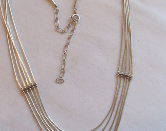 Delicate vintage sterling silver 5 strand necklace