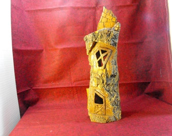 Carved Wood Fairy House, Primitive House, Rustic Wood Art House
