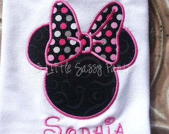 Minnie Mouse Embroidered Shirt- Personalized Custom Shirt- Mouse Ears Shirt- Disney Vacation- Applique-Sparkle Bow