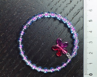 Pink and Blue coil bracelet small