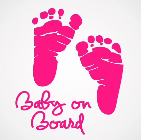 baby on board decal baby footprints newborn decals boy etsy