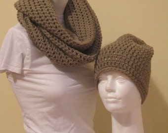 Buy One Get One Free///Infinity Scarf and Beanie Hat- Taupe