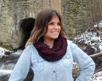 Chunky Knit Holy Cowl Scarf Claret Burgundy Warm Stylish or choose your own colour