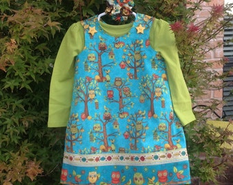 Turquoise Fall Fun Owl Dress with coordinating Band, (infant, baby, girl, toddler,child) with matching hair accessory.