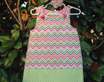 Chevron Dress, Pink & Green Multi-color (girl, infant, child) -  with matching hair accessory.