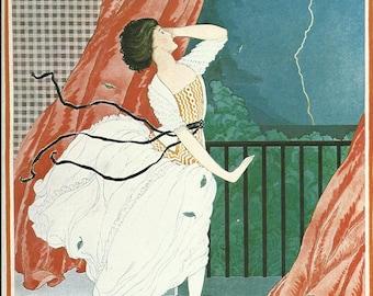Vogue magazine cover 1921 Lightning Balcony Fashion Illustration Vogue Poster Art Deco Home Decor Print Fine Art