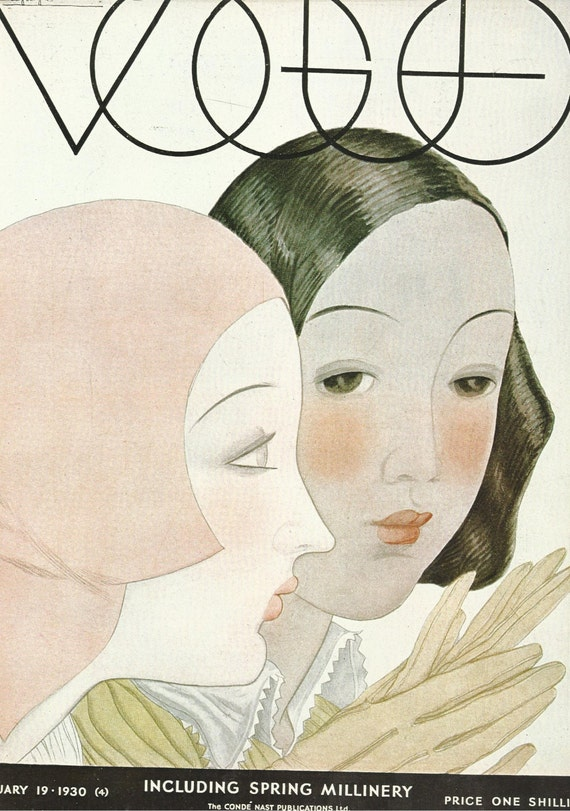 vogue magazine cover 1930 gloves millinery fashion illustration vogue poster art deco home decor print fine - Vogue Decor Magazine