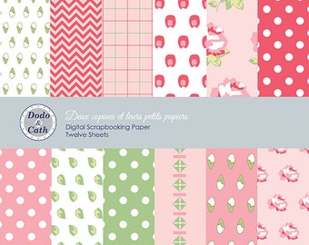 Digital Scrapbook Paper in A4 - Garden Rose