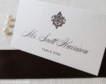 Damask Wedding Place Cards SAMPLE