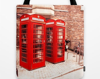 British Phone Box Tote Bag, red phone booth, English, vintage classic photography accessory