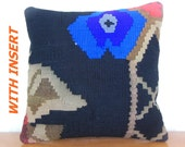 Decorative pillow kilim throw pillow kilim cushion Blue navy cream black tribal pillow case rustic pillow cover hand woven pillow sham wool - DECOLIC