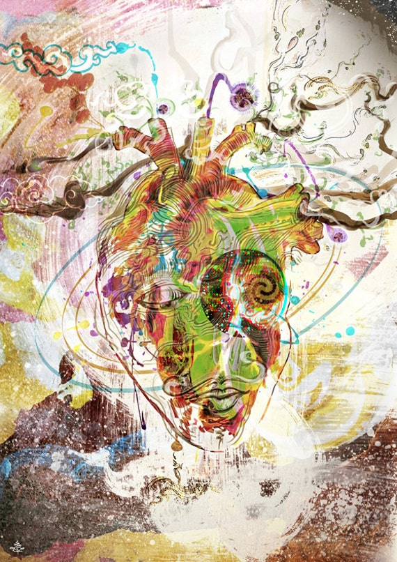 Heart Mind - MixedMedia Original on Canvas, or Artprint & Poster in various Size