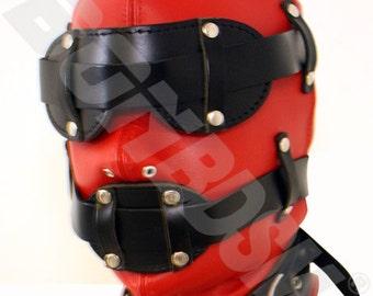 Blindfold Bondage Fetish Mask Red and Black Leather Gimp Hood With Silicone Gag, Mature