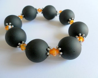 Chunky Black and Orange Bracelet
