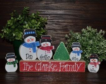 Christmas Decor Personalized Snowmen Family Block Set-Primitive Personalized Christmas Decoration Personalized Christmas Family Gift Winter