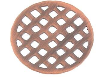 50% OFF 4 pcs Large 37mm Antique Oxidized Copper Round Waffle Grid Plates Pendant Connector 104361