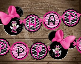 Happy Birthday Banner, Pink Minnie Mouse Birthday Banner, My Celebration Shoppe, Minnie Decorations, Minnie Mouse, Banner, Birthday