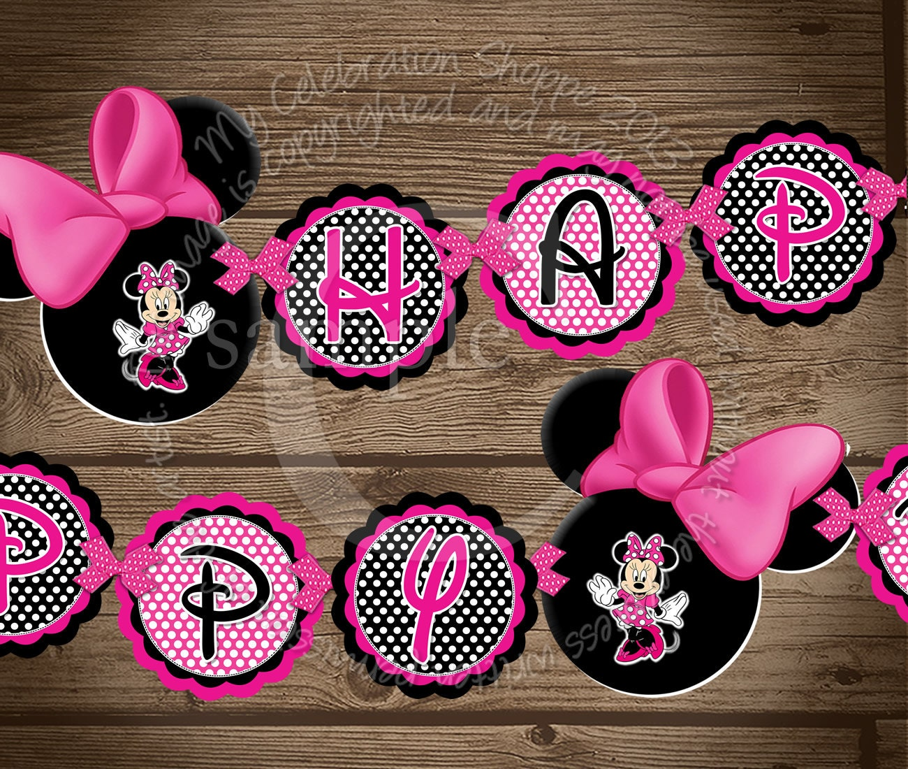 happy birthday banner pink minnie mouse birthday banner my
