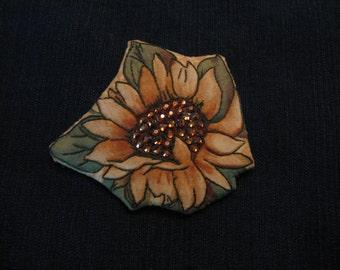 SPARKLY SUNFLOWER PIN-Swarovski-Magnetic Brooch-Gift for Gardener