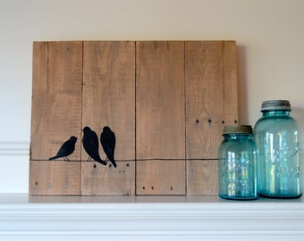 Reclaimed wood art sign: Three bird family on wire silhouette