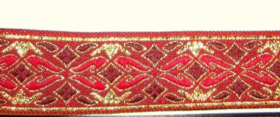 Embroidered Woven Fabric Trim - beautiful Diamonds w. Flourish design for Costumes,Sewing,Crafting,Decor - by the yard, shades of red