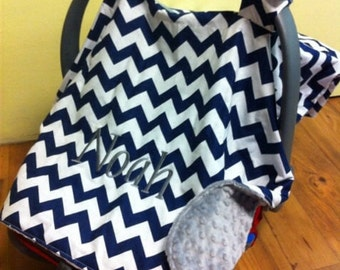 Baby boy car seat canopy with monogram, personalized blue gray tent cover