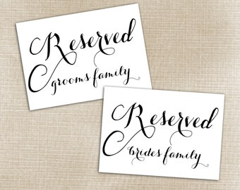 Reserved Bride and Groom Signs
