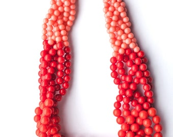 SALE - Ombre Resin Beads Braided Necklace
