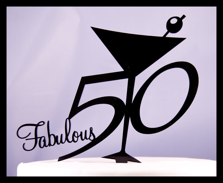 Fabulous Fifty 50 Birthday Cake Topper Martini Glass