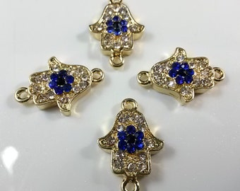 5 pcs x Hamsa evil eye protection connector  for jewelry project. gold plating