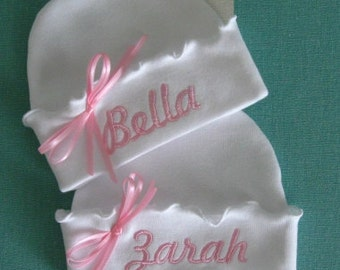 Personalized Custom Boutique Girly Girl RUFFLED NEWBORN HATS, Two Hats for Twins, Baby Hospital Hat,  Beanie Hat, Name Reveal