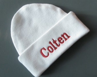 CUFF NEWBORN BEANIE Hat, Personalized White with Red  - Hospital Hat, Gender Reveal, Name Reveal, Baby boy