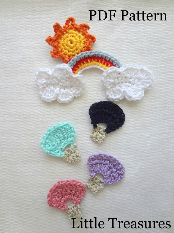 Crochet Pattern PDF - Hot Air Balloon, Rainbow, Cloud, Sun, applique, crochet photo tutorial, digital instructions