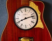 OOAK Stunning Antique Full size Acoustic Guitar Hand Made Custom Howard Miller Clock & Pendulum Rare Custom Limited Edition collection