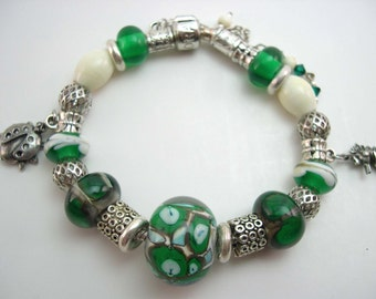 Lampwork bracelet, Matching Earrings,Glass Lampwork Bead,  Lampwork Jewelry , Green Glass Bracelet,  Ivory lampwork  bracelet