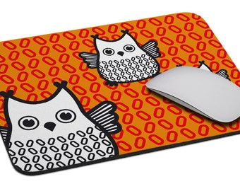 Owl (orange - green) - Mouse Pad - Soft Fabric Top - Heavy duty natural rubber backing - Custom made