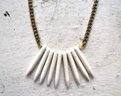 white spike bib necklace